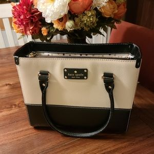 kate spade box style cream and black tote
